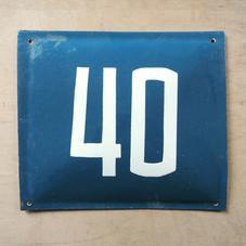 Vanha sininen emalikyltti numero 40