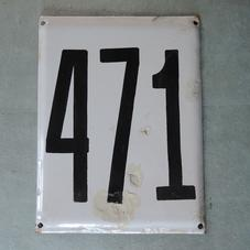 Stor gammal emaljskylt nummer 471