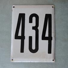 Stor gammal emaljskylt nummer 434