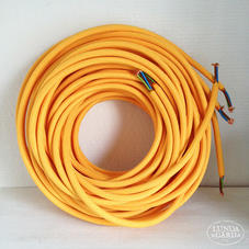 Textilkabel gul 0,5 meter