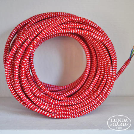 Textilkabel röd/vit 0,5 meter