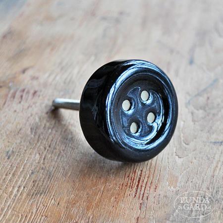Porslinsknopp svart knapp