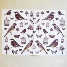 Decoupage-papper, fåglar